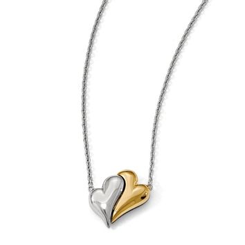 Sterling Silver 14k Gold Plated Magnet Double Heart 22 Inch Necklace