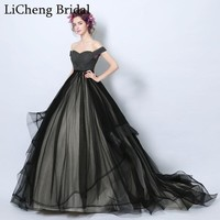 Elegant black Chiffon prom dress long with court train off the shoulder ball gown for prom party dress  robe de soiree 2017