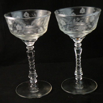 Cut Crystal Wine Glasses, Floral Pattern, Vintage Etched Glass