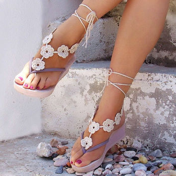 Crochet Flower Beige Barefoot Sandals Nude shoes Foot by Lasunka