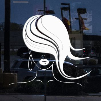 Window Sign Decal for Business Hairstyle Beauty Hair Salon Barbershop Hairdresser Stickers Unique Gift (1240igw)