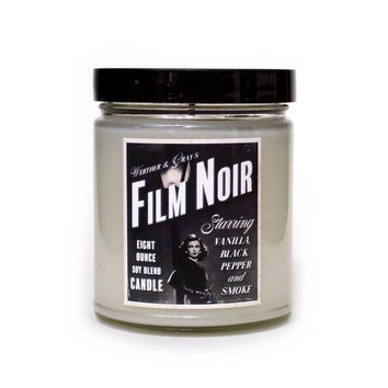 FILM NOIR, Scented Candle, Vanilla Fragrance, Black Pepper, Smoky, Vamp, Femme Fatale, Old Hollywood, Cinema History, Black & White, 1940s