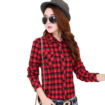 2016 Hot New Fashion Plus Size Blouses 100% Cotton Flannel Plaid Shirt Women Long Sleeve Casual Shirt Girl's Red Tops 21 Colors