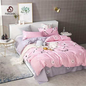 ParkShin Bedding Set Comforter Duvet Cover Bedspread Sheet Elastic Euro Flowers Pink Queen King Size Double Linens Bedclothes