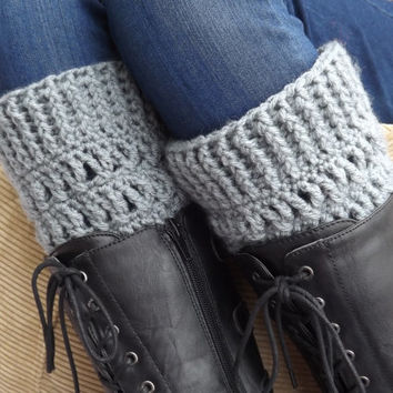 Grey Boot Cuffs - Silver Heather boot socks - winter accessory - Fashion accessory - Boot toppers - boot warmers - Boot accessory