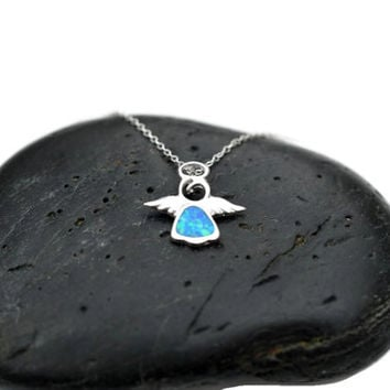 Silver Angel necklace - Blue Opal Angel Necklace Pendant - Child Silver Angel Charm - Small 925 Angel Opal Pendant - Kid Angel Necklace