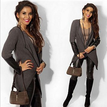 Women Leather Patchwork Jackets Coats 2016 Autumn Winter Long Sleeve Black Gray Cardigan Outwear Knitted Jacket Coat