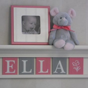 "Personalized Children Nursery Decor 24"" Linen White Shelf with 5 Letter Wooden Plaques Pink and Gray - ELLA with Flower"