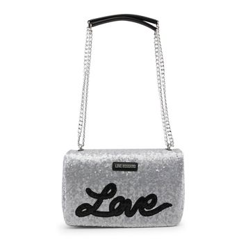 Love Moschino Grey Synthetic Leather Appliques Shoulder Bag