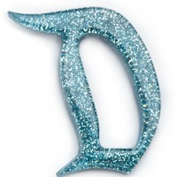 "Match Accessories Exclusive ""D"" - Light Blue Glitter Brooch"