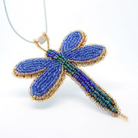 Beaded necklace brooch Blue Moth - large butterfly pendant - embroidered seed bead jewelry - green and blue handmade beadwork - leather cord