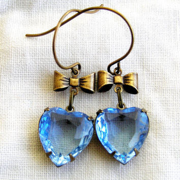 Old Hollywood Style Blue Sapphire Crystal Earrings