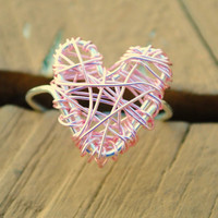 Adjustable Wire Wrapped Ring Pink Puff Heart by KissMeKrafty