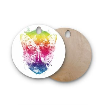 "Frederic Levy-Hadida ""Butterfly Skull"" Rainbow Round Wooden Cutting Board"