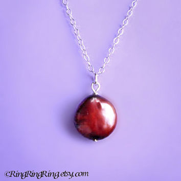 Red Baroque Coin Genuine Pearl on 925 Sterling silver necklace.