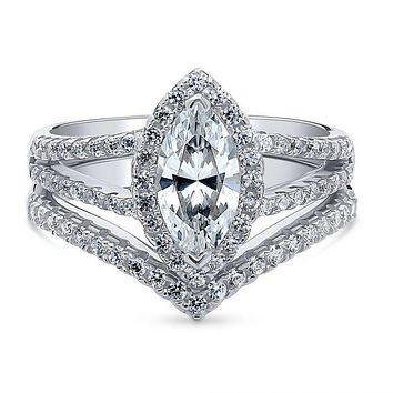 A Perfect 1CT Marquise Cut Russian Lab Diamond Halo Bridal Set