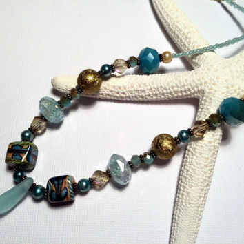 Aqua Sea Glass Beaded Necklace Upcycled Jewelry Summertime Beach Glass Lake Erie Ohio Buckeyes