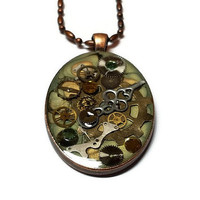 Green and Gold Steampunk Necklace with Gears and Cogs
