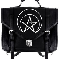 Restyle Gothic Unholy Messenger Satchel Briefcase Wicca Punk Bag Expandable 3 Way Bag