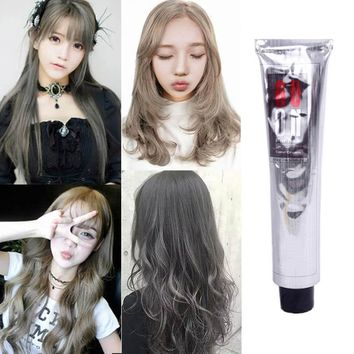 100ml Fashion Hair Cream Natural Permanent Professional DIY Dye Hairs Smoky Grey Coloring Light Gray Flaxen Style YF2017