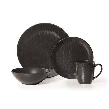 Mikasa Gourmet Basics Ridgewood Black 16-piece Dinnerware Set | Overstock.com Shopping - The Best Deals on Casual Dinnerware