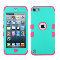 iPod Touch 5th / 6th Gen Turquoise Blue Pink Impact Hard&Soft Rubber Hybrid Case
