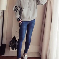 """Adidas"" Women Sport Casual Fashion Stripe Stitching False Two-Piece Long Sleeve Thickened Hooded Sweater Hoodie Tops"