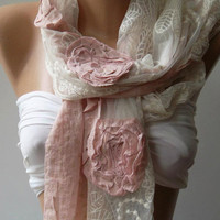 Shabby Chic - Georgeus Scarf Elegance Scarf Feminine Scarf....Cotton and Tulle fabric...