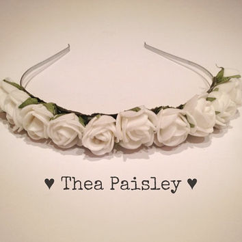 Flower Crown : Cream Rose / Pastel goth, Pastel grunge