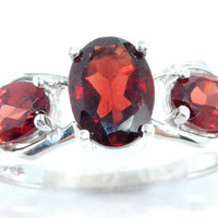 2 Carat Garnet Oval Ring .925 Sterling Silver Rhodium Finish White Gold Quality