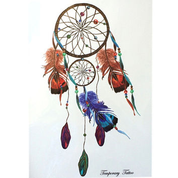 2016 NEW Fashion Waterproof Hot Temporary Tattoo Stickers 21 X 15 CM Dreamcatcher With Blue and Brown Feather