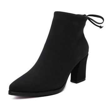 Black Suedette Tied Back Zip Side Pointed Block Ankle Boots