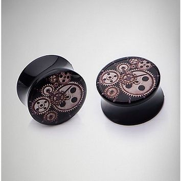 Black Gears Steampunk Double Flare Plug 2 Pack - Spencer's