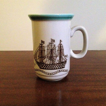 Vintage 1970s HMS Victory Sail Ship Stoneware Mug Made by Churchill England / Lord Nelson's 1765 Flagship / Nautical Sailor's Knot Mug