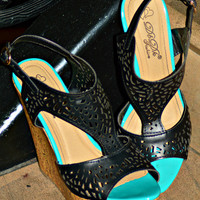 WALKING ON HEARTS WEDGES IN BLACK