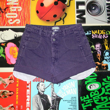 Vintage GUESS Jean Shorts, 80s High Waisted Purple Acid Washed Denim Jean Shorts, Cut Offs, Size L Large 14, ACID WASH