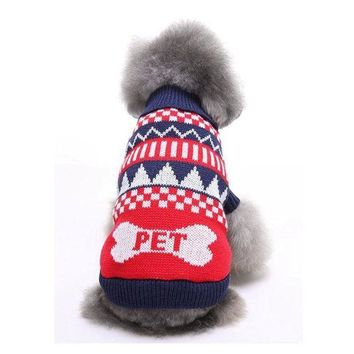 PEAPON PACGOTH Cat Dog Sweaters Bone Pattern Pet Fashion Sweater for Autumn Winter Halloween Christmas Party Pet Clothes Dogs Supplies