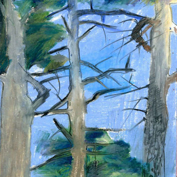 PINE TREES -  Instant Download - Fine Art - Tree Drawing - Oil Pastel Drawing - Contemporary Art - Digital File