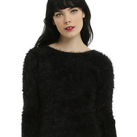 Black Fuzzy Girls Sweater