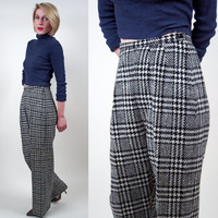 Plaid Pants Houndstooth 70's WOOL Skater high waist RETRO mod 1970's checkerboard black + white wide leg slim xs small trouser pants slacks