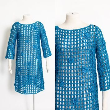 Vintage 1960s Cage Dress - Metallic Blue Crochet Macrame 60s - Medium M