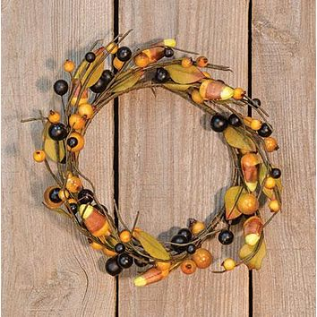 "Rustic Candy Corn and Berries 10"" Wreath Ring"