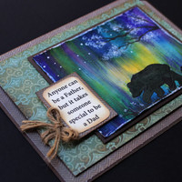 "Original Painted - Father's Day Card - Northern Lights - 5"" x 7"""