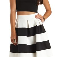 Pleated & Striped Skater Skirt by Charlotte Russe - Black/Ivory