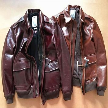 New arrival genuine cow skin leather jacket men's vintage A2 cowhide leather jacket
