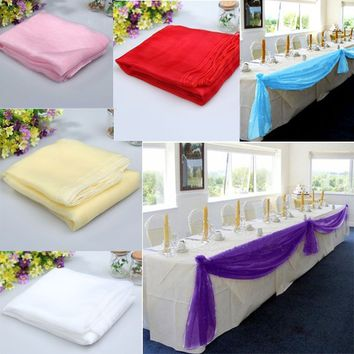 5mx1.4m  6 Colors Organza Table Runners Wedding Party Banquet Bow Decor
