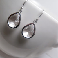 Huge Spring Sale Clear Earrings Teardrop With Sterling Silver Earwires