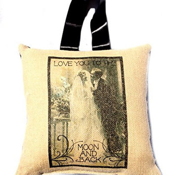 Love You to the Moon and Back - French Wedding Burlap Accent Pillow - Handmade