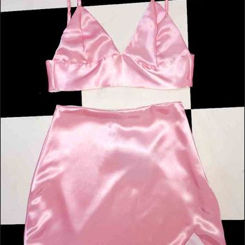 SWEET LORD O'MIGHTY! SILK KITTEN SKIRT IN POWDER PINK