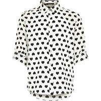 River Island Girls white heart print shirt